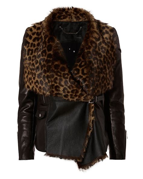 pattern making leather jacket barbara bui leopard pattern shearling lamb leather jacket