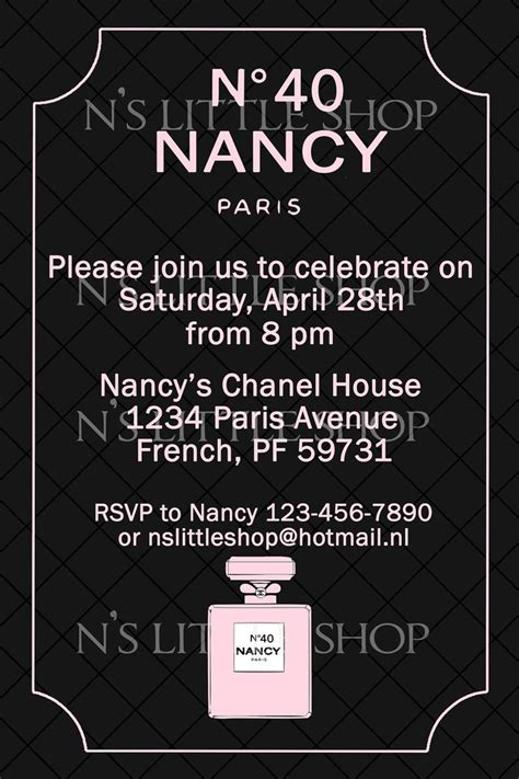 357 Best Images About Chanel Themed Party On Pinterest Coco Chanel Sweet Sixteen And Invitations Chanel Invitation Template