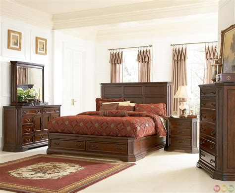 storehouse bedroom furniture foxhill rich brown finish storage bedroom furniture set