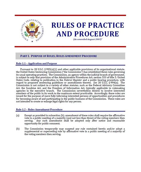 section 18 sentencing guidelines rules of practice and procedure united states sentencing