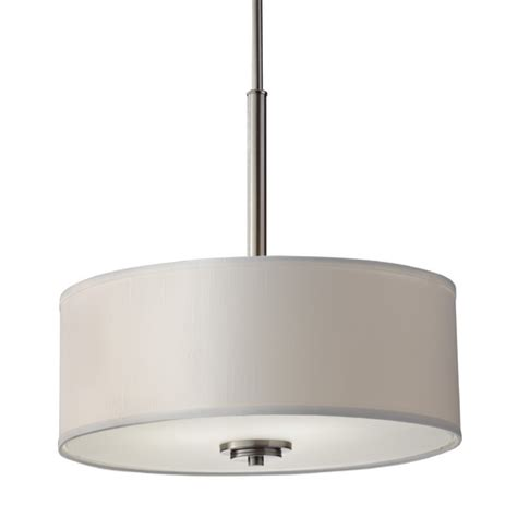 Modern Drum Pendant Light With Off White Shade In Brushed White Drum Pendant Light