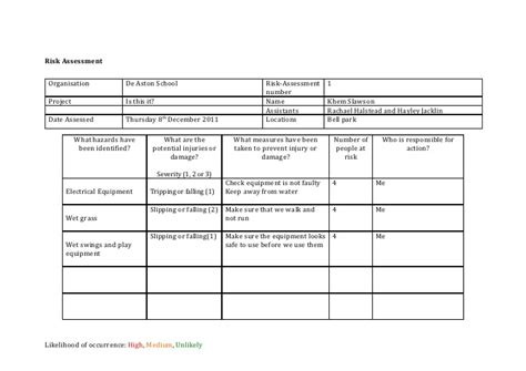 Hazard Assessment Template by Risk Assessment Template Media