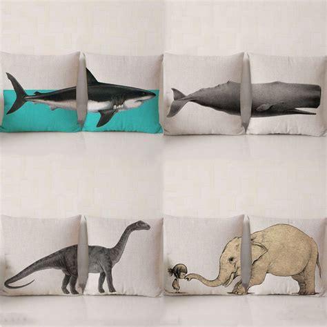 Animal Pillow Chair by Animal Pillow Cotton Linen Chair Seat Waist Square Shark Elephant Dinosaur Pattern