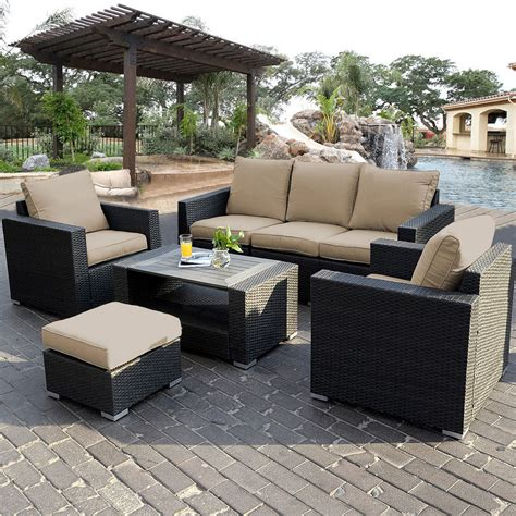 Rattan Patio Furniture Set 7pc Outdoor Patio Patio Sectional Furniture Pe Wicker Rattan Sofa Set Deck Ebay