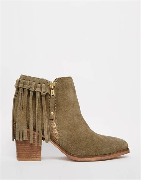 ankle boots with fringe asos rhymes suede fringe ankle boots in khaki lyst