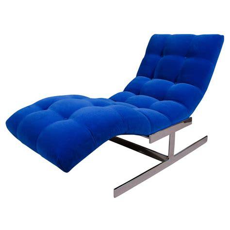 blue velvet chaise mid century cobalt blue velvet milo baughman quot wave quot chaise