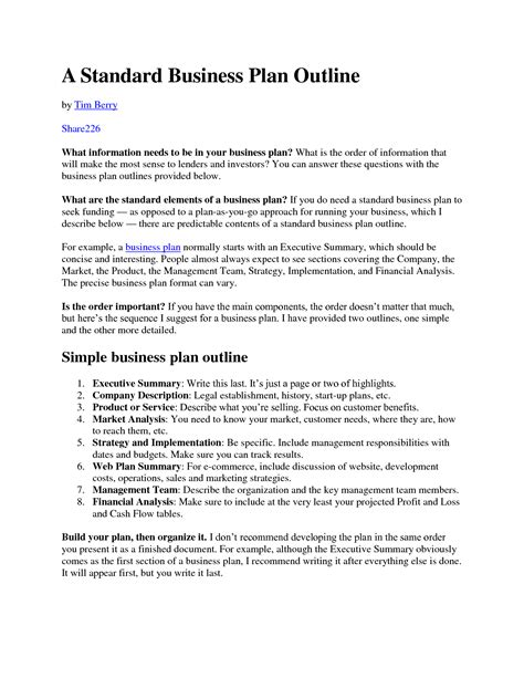 standard business plan template standard business plan template 28 images standard