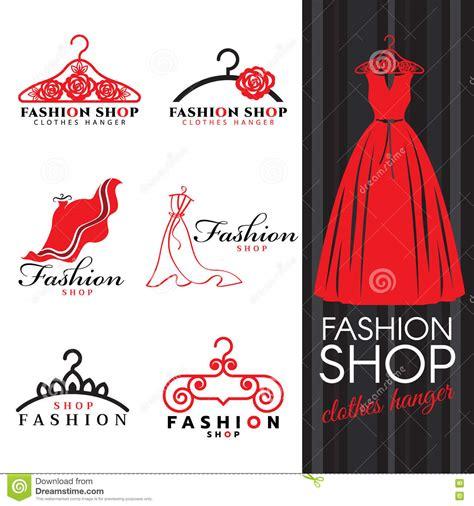 fashion logo design illustrator fashion shop logo dress and clothes hanger logo