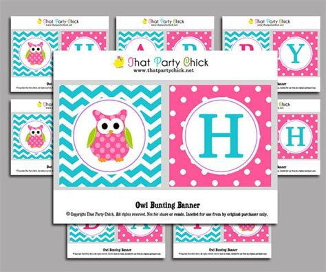 printable owl birthday banner free pink owl bunting cliparts co