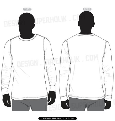 long sleeve shirt vector template set hellovector
