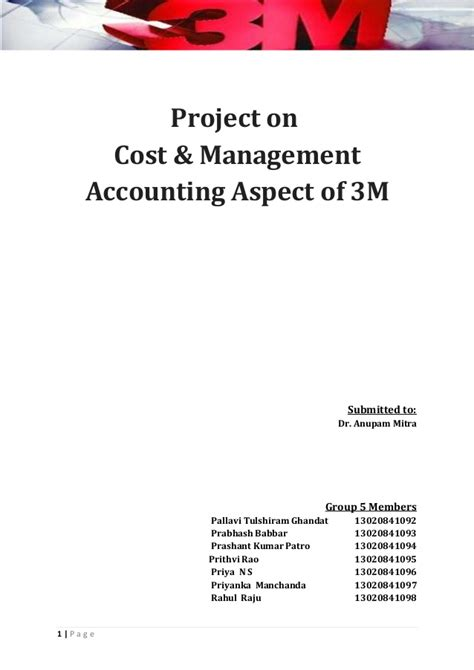 Cost And Management Accounting Project For Mba by Cost Accounting At 3m