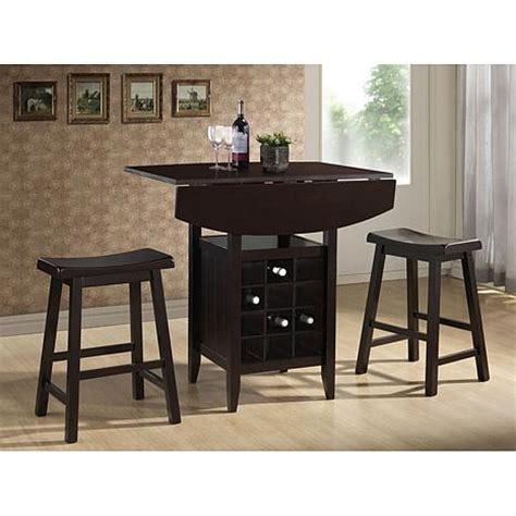 black wood 3 modern drop leaf pub set with