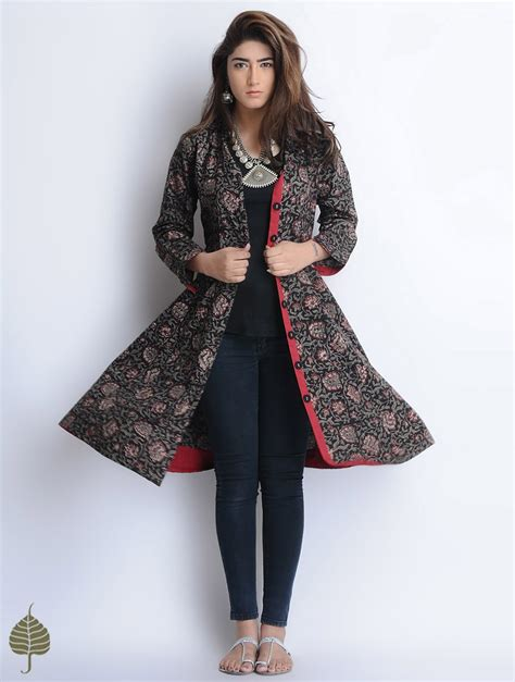 dress design with jacket buy black red grey natural dyed bagru printed button down