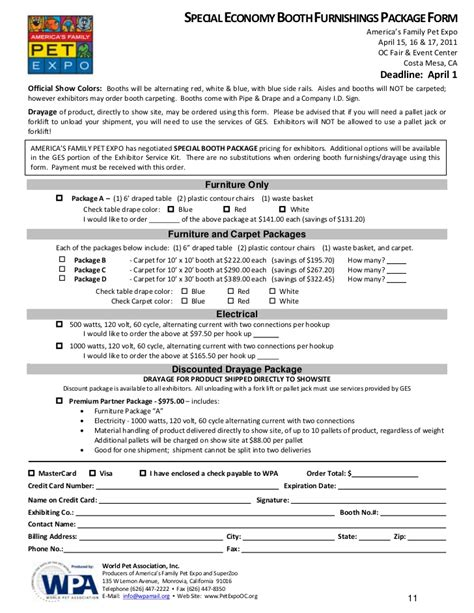 America S Family Pet Expo Exhibitor Packet Pet Registration Form Template