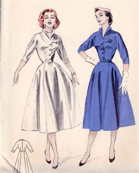 shirtwaist dress pattern 1950s misses shirtwaist dress vintage sewing pattern