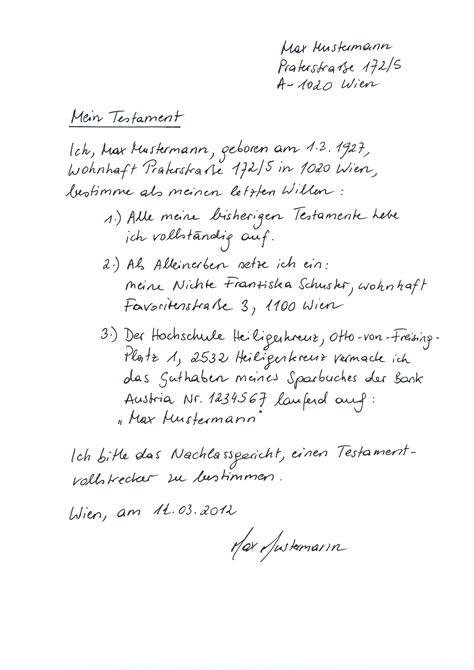 Testament Schreiben Muster Eigenhndiges Schriftliches Testament Berliner Testament