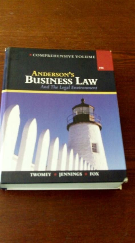 Anderson S Business Law And The Legal Environment Ebay