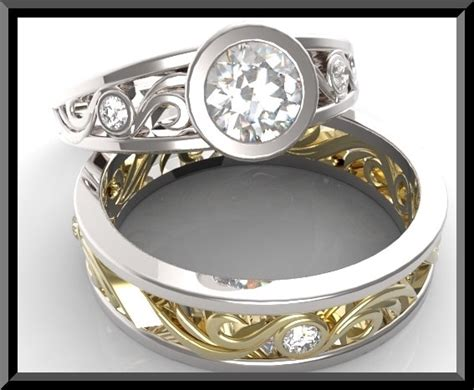 white and yellow gold wedding ring set vidar jewelry