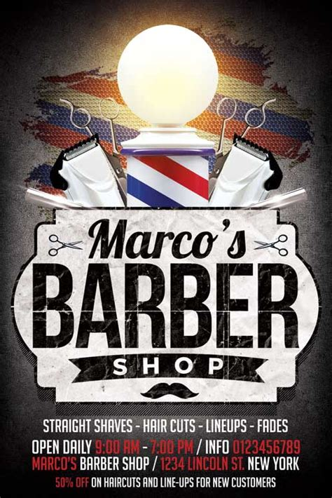 barber shop template xtremeflyers business flyer templates