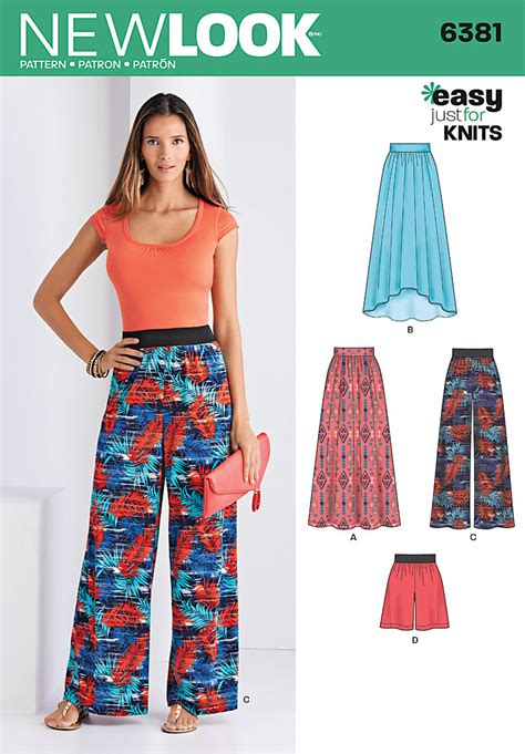 knit sewing patterns new look 6381 misses knit skirts and or shorts