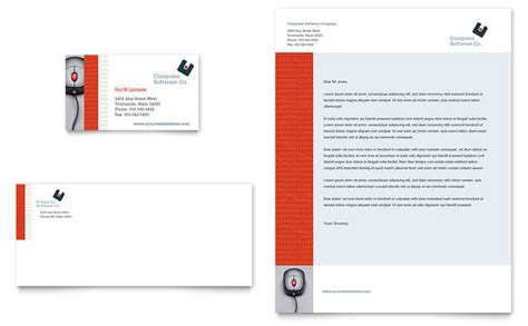 business letterhead size computer software company business card letterhead