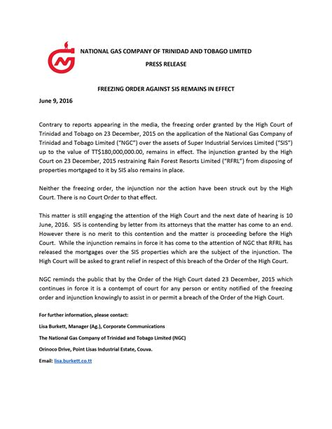 media release freezing order against sis remains in