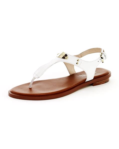 Sandal White michael michael kors logoplate leather sandal optic white in white lyst