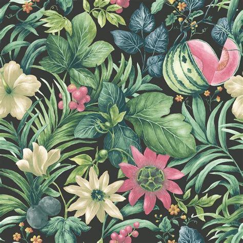 wallpaper flower motif grandeco botanical fruit flower pattern wallpaper tropical