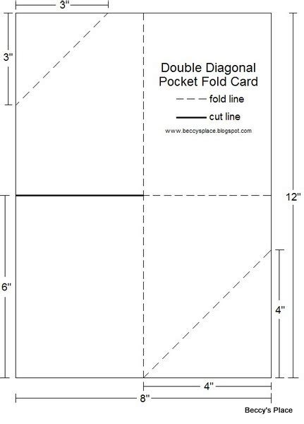 4 fold card template beccy s place tutorial diagonal pocket card