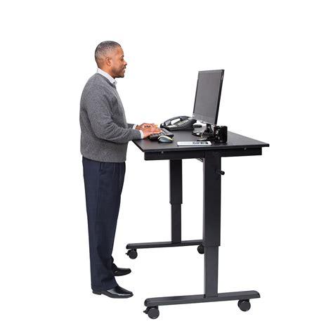 48 Quot Crank Adjustable Stand Up Desk Black Frame Black Oak Top Best Stand Up Desk
