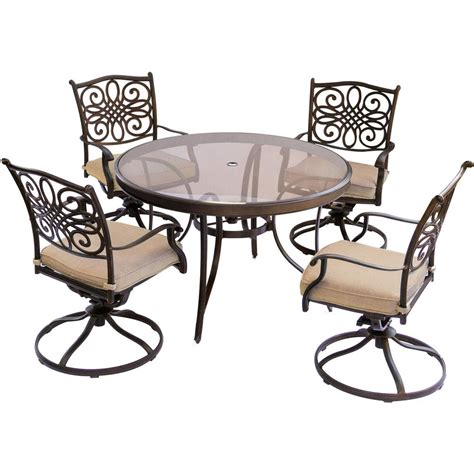 Dining Set With Swivel Chairs Hanover Traditions 5 Aluminum Outdoor Dining Set With Glass Top Table And Swivel