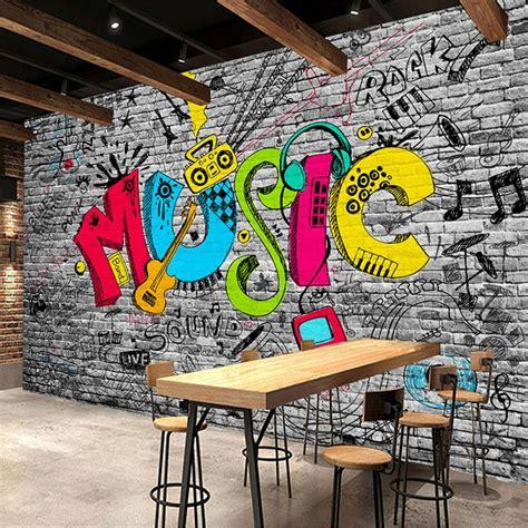 custom mural wall paper creative graffiti art  brick