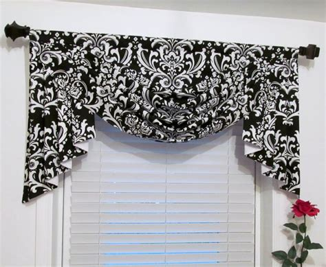 black and white swag curtains swag and jabots classic window treatments black white damask