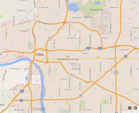 tulsa map map of tulsa world easy guides