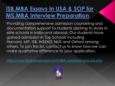 How To Get Admission In Isb For Mba by Sop For Mba In Usa