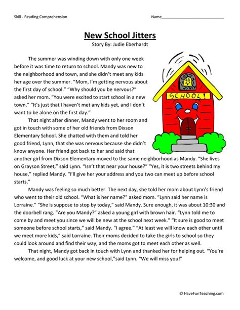 College Level Reading Comprehension Worksheets by New School Jitters Reading Comprehension Worksheet