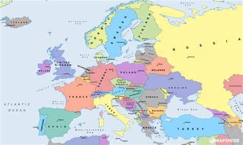 map of eurpore free political maps of europe mapswire