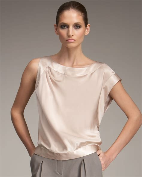 blouse armina top lyst giorgio armani asymmetric silk blouse in