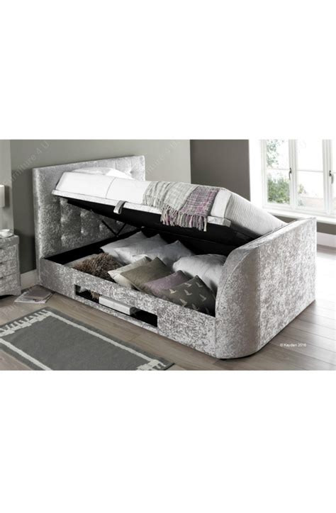 super king size ottoman storage beds 6ft super king size barnard crushed silver fabric tv