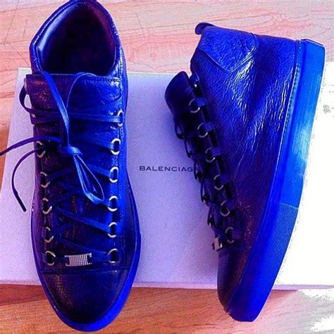 blue balenciaga arena sneakers balenciaga sneakers arena blue leg