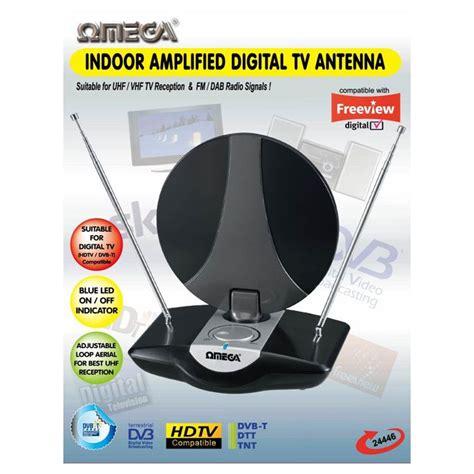 omega 24446 indoor uhf tv antenna lified aerial digital freeview dab fm radio etwist