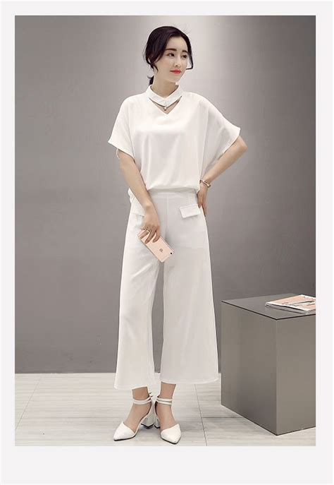 Celana Import Korean Style 1 baju fashion korea 2pcs white set