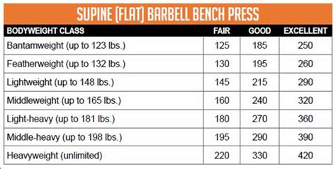 bench press chart by age bench press chart by weight and age average bench press