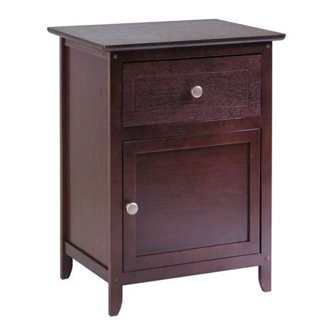 Nightstand With Drawer Nightstand With Drawer And Cabinet In Antique Walnut 94215