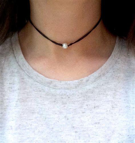 Choker Pearly Wings Choker boho pearl choker adjustable cord necklace layering