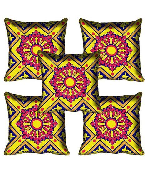 Set Satin Motif Bali 5 mesleep square design digital printed satin cushion cover set of 5 buy at best price