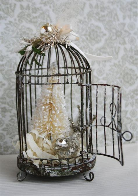 silver and cream weathered wire bird cage holiday
