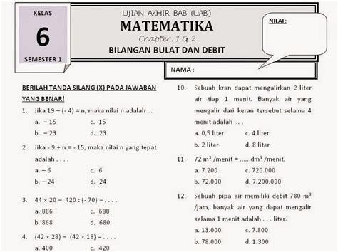 Mtk Kls 1 Smp Facil soal matematika sd kelas 6 semester 2 aidan