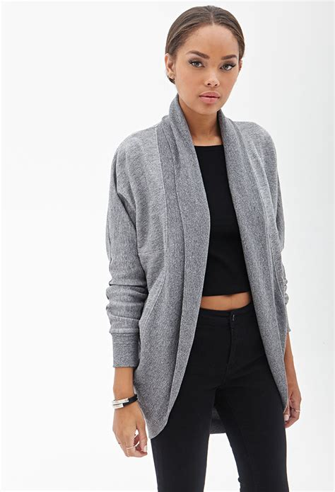 Cardigan Forever 21 forever 21 heathered dolman cardigan in gray grey lyst