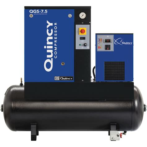 quincy qgs rotary compressor with dryer 7 5 hp 230 volt single phase 60 gallon 21 2